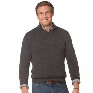 Chaps Grey + Brown Elbow Patch Mock Neck 100% Cotton Men's Pullover Sweater, MED